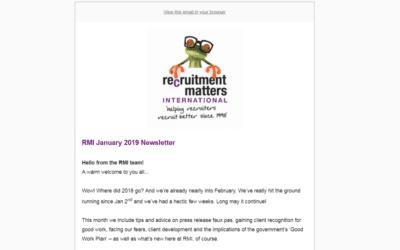 Recruitment Matters International Newsletter: January 2019